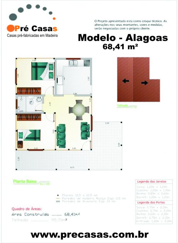 Projeto Modelo Alagoas - 68,41 m² - Pré Casas