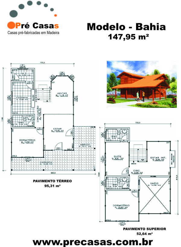 Projeto Modelo Bahia - 147,95 m² - Pré Casas