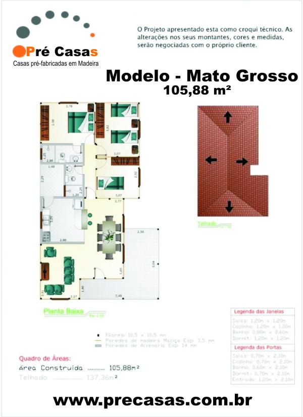 Projeto Modelo Mato Grosso - 105,88 m² - Pré Casas