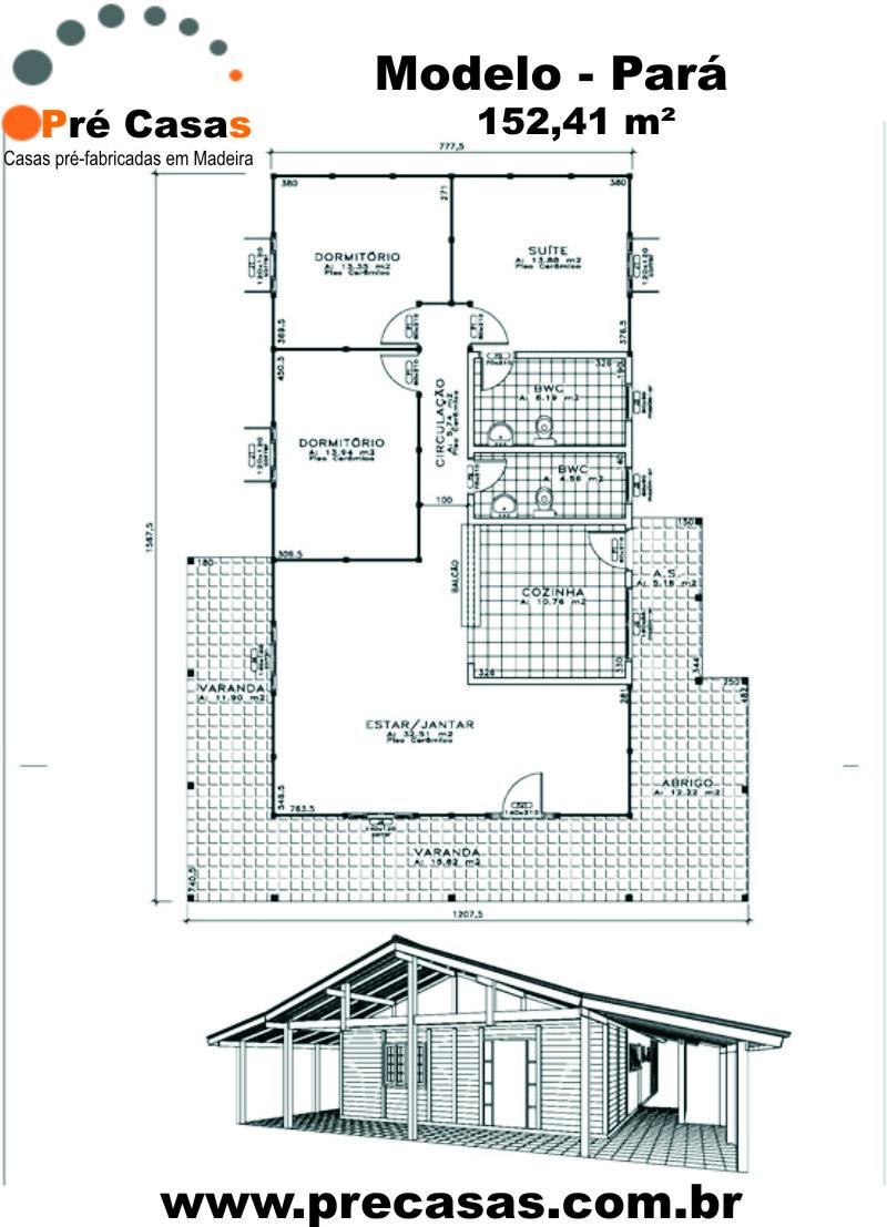Projeto Modelo Pará - 152,41 m² - Pré Casas
