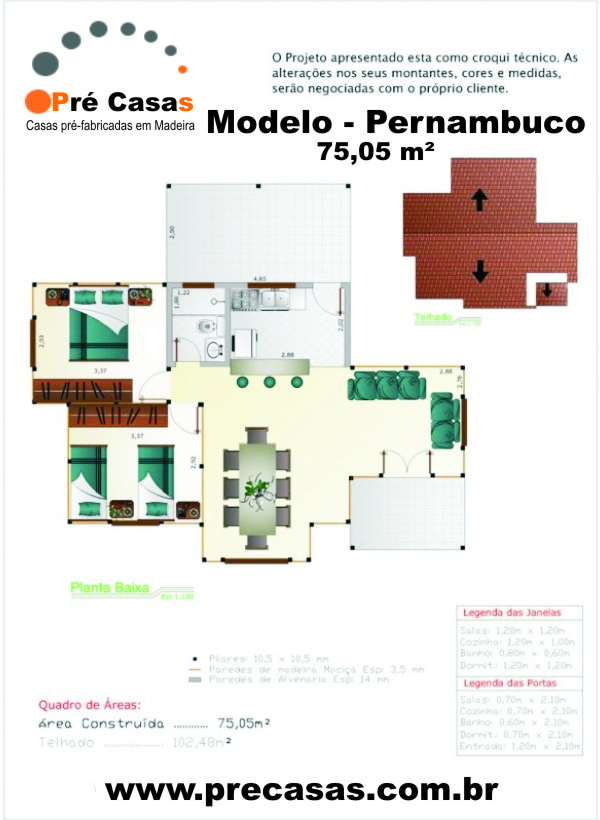 Projeto Modelo Pernambuco - 75,05 m² - Pré Casas