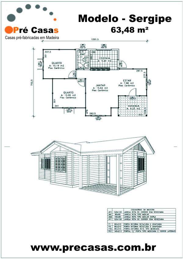 Projeto Modelo Sergipe - 63,48 m² - Pré Casas
