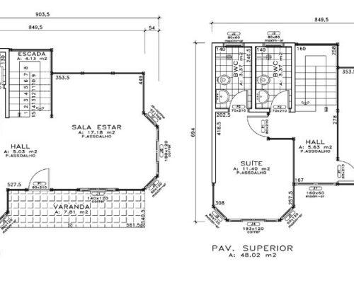 Duplex Casas Pré - Casas de Madeira – Jundiaí-SP – 104,98 m² Planta